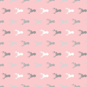 Deer - Half Scale Rotated - Meadow Sunrise - grey on pink