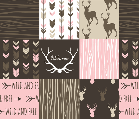Patchwork Deer - Cocoa and Pink fabric by sugarpinedesign on Spoonflower - custom fabric
