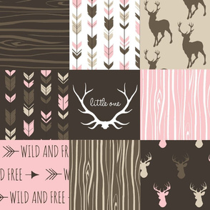 Patchwork Deer - Cocoa and Pink