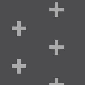 Large crosses - light grey on dark grey