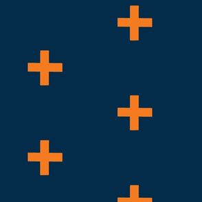 Large Crosses - Orange on navy