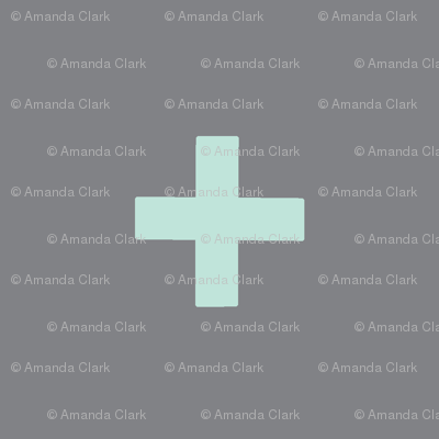 large Cross - mint on grey - plus