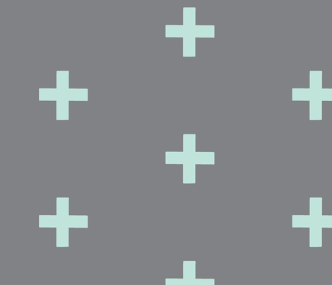 large Cross - mint on grey - plus fabric by sugarpinedesign on Spoonflower - custom fabric