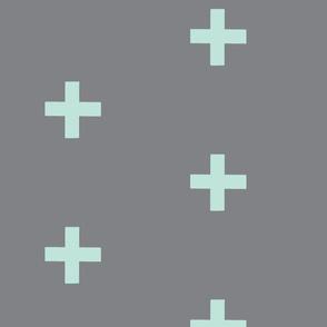 large Cross - mint on grey - plus