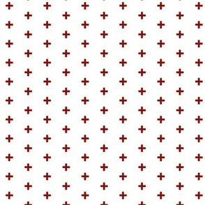 "Tiny Crosses - Blood Red - 1/3"" plus on white-ch-ch-ch"