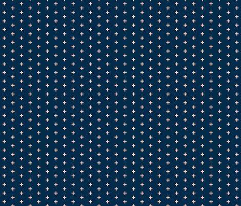 """Tiny Crosses -1/3"""" plus - coral on navy fabric by sugarpinedesign on Spoonflower - custom fabric"""