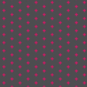 "Tiny Crosses  - 1/3"" plus - Hot pink on grey - fuchsia- neon pink"