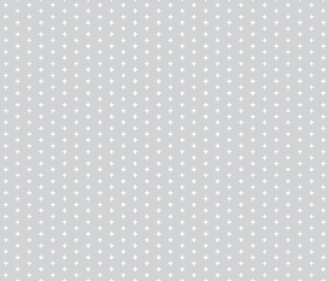 """Tiny Crosses - 1/3"""" plus - white on grey fabric by sugarpinedesign on Spoonflower - custom fabric"""
