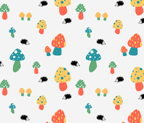 mushrooms and hedgehogs fabric by meissa on Spoonflower - custom fabric
