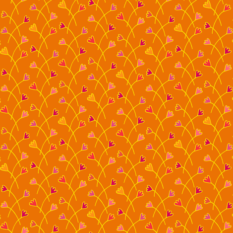 Criss_Cross_Flowers_Orange_small fabric by johannaparkerdesign on Spoonflower - custom fabric