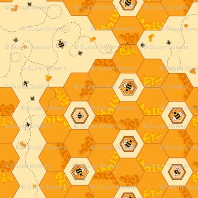 Hexagon Honeycomb Bees