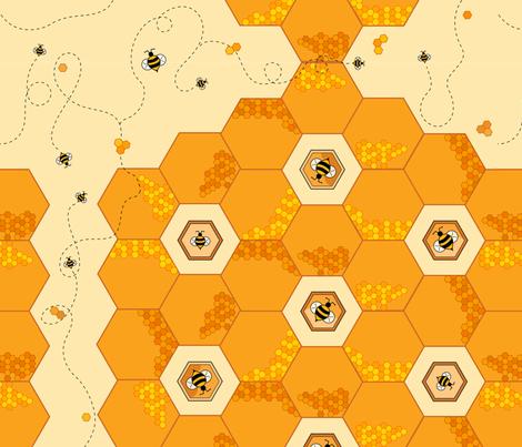 Hexagon Honeycomb Bees fabric by sssowers on Spoonflower - custom fabric