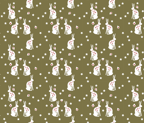 bunny gold fabric by meissa on Spoonflower - custom fabric