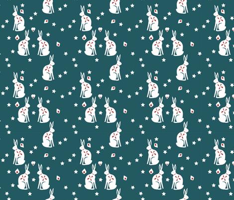bunny petrol fabric by meissa on Spoonflower - custom fabric