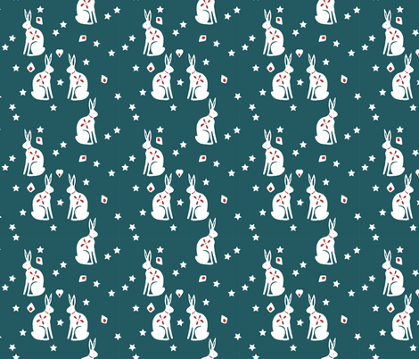 bunny petrol fabric by meissa on Spoonflower - custom fabric