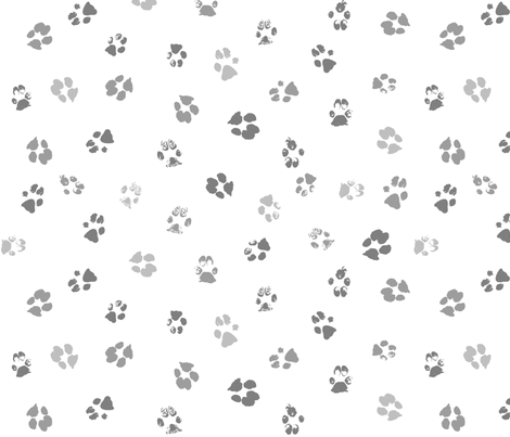 Paws Gray Multi fabric by purplish on Spoonflower - custom fabric
