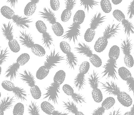 Pineapples Gray fabric by purplish on Spoonflower - custom fabric