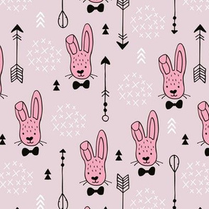 Cool hipster white bunny and geometric arrows spring easter design in pink and dusty blush for girls