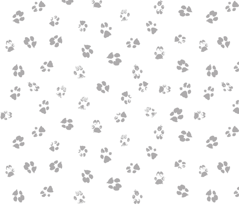 Paws Gray and White fabric by purplish on Spoonflower - custom fabric