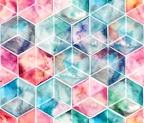 Translucent Watercolor Hexagon Cubes large version fabric by micklyn on Spoonflower - custom fabric