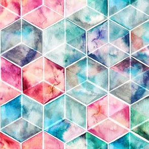 Translucent Watercolor Hexagon Cubes large version