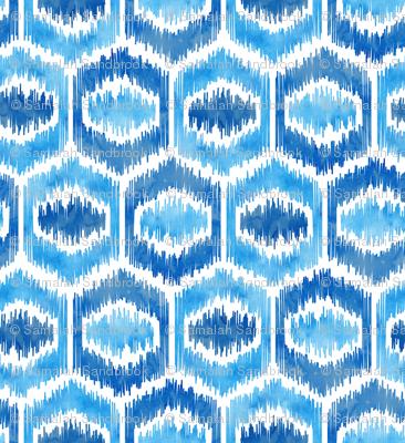 Watercolor Ikat Hex - Blues - Large