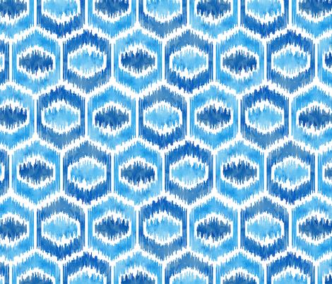 Watercolor Ikat Hex - Blues - Large fabric by samalah on Spoonflower - custom fabric