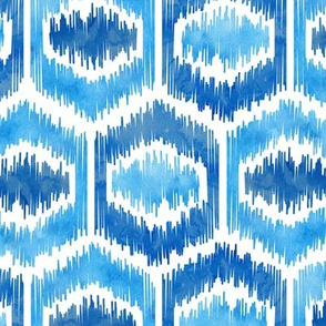 Watercolor Ikat Hex - Blues