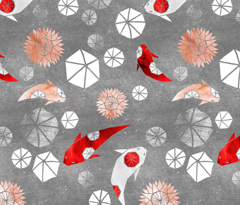 Hexagons and Octagons: Kanoodling Koi on grey fabric by pinky_wittingslow on Spoonflower - custom fabric