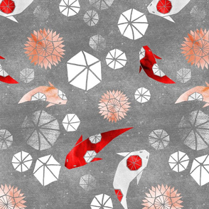 Hexagons and Octagons: Kanoodling Koi on grey