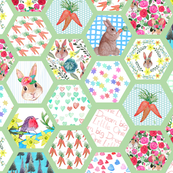 Hexagon Spring Bunny Quilt in watercolor