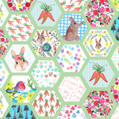 Woodland Bunny Nursery cheater quilt in watercolor