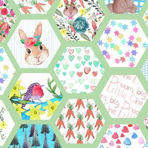 Woodland Bunny Nursery cheater quilt
