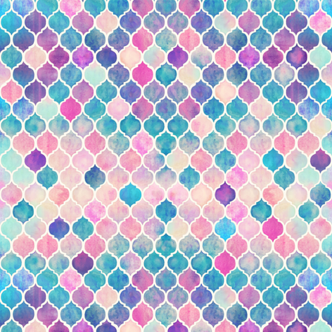 Extra Tiny Rainbow Pastel Watercolor Moroccan Pattern fabric by micklyn on Spoonflower - custom fabric