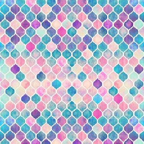 Extra Tiny Rainbow Pastel Watercolor Moroccan Pattern
