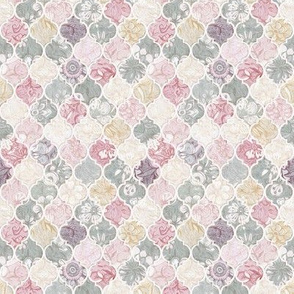 Tiny Dusky Rose, Cream and Grey Floral Moroccan Tiles