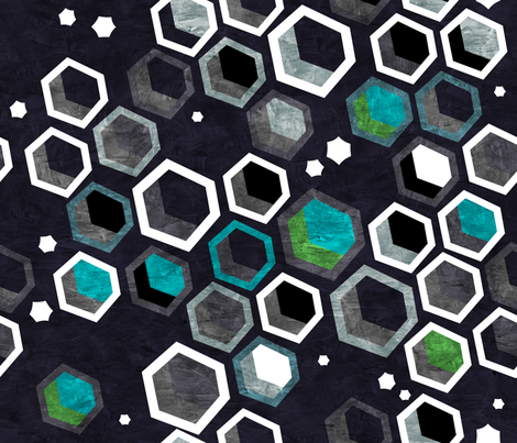 Interstellar Hexagons fabric by hollybender on Spoonflower - custom fabric