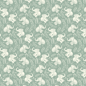 Tiny Laughing Baby Elephants - monochrome sage green and cream
