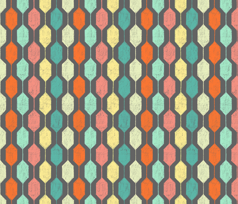 Midcentury Modern Hexagons on Grey fabric by carabaradesigns on Spoonflower - custom fabric