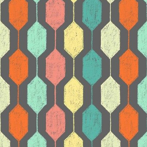 Midcentury Modern Hexagons on Grey