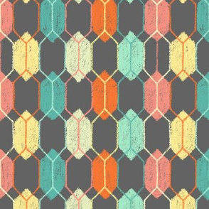 Midcentury Modern Hexagon Argyle on Grey