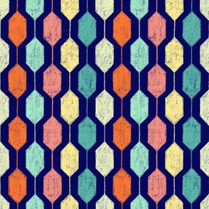 Midcentury Modern Hexagons on Navy