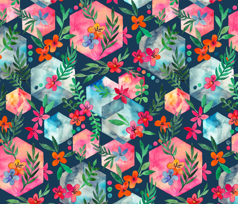 Whimsical Hexagon Garden on dark blue fabric by micklyn on Spoonflower - custom fabric