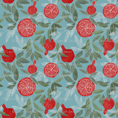Pomegranates garden on sky blue
