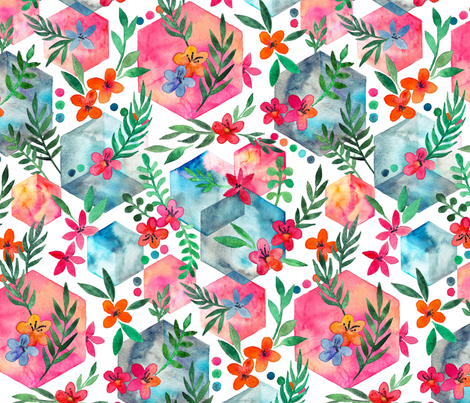 Whimsical Hexagon Garden on white fabric by micklyn on Spoonflower - custom fabric