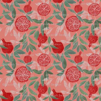Pomegranate garden on peach pink