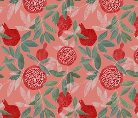Pomegranate garden on peach pink fabric by lavish_season on Spoonflower - custom fabric