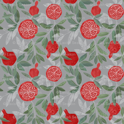 Pomegranate garden on grey