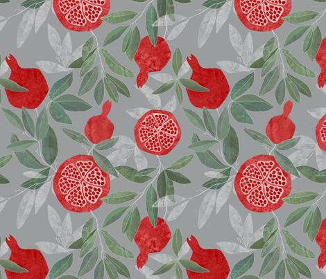 Pomegranate garden on grey fabric by lavish_season on Spoonflower - custom fabric