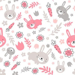 Rabbits in the garden-pink